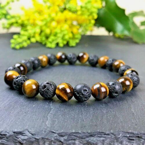 Bracelet Homme Oeil du Tigre pierre de lave Naturelles  Grandes taille au choix
