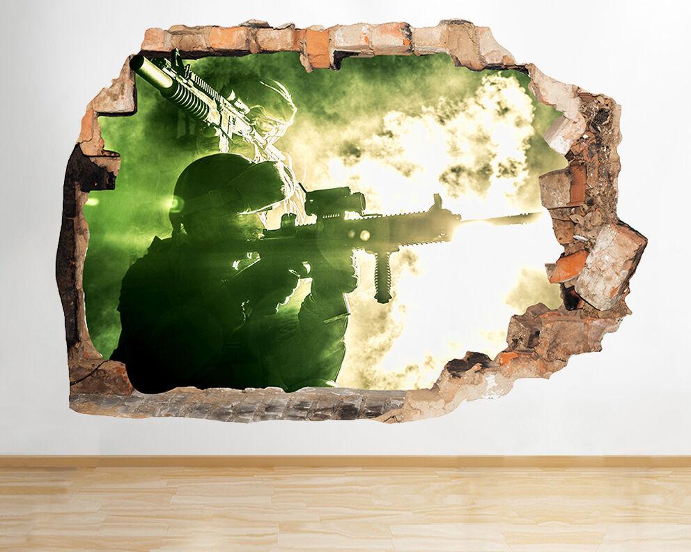R395 Soldato luce di notte Army War  adesivo da parete camera bambini