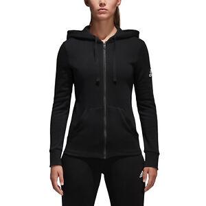 Détails sur Adidas Femmes Running Sweat à capuche Essentials Linear Full Zip Noir Entraînement S97085 NEUF afficher le titre d'origine