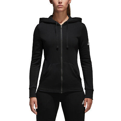 Adidas Women's ClimaLite 3 Stripes French Terry Full Zip Jacket Black
