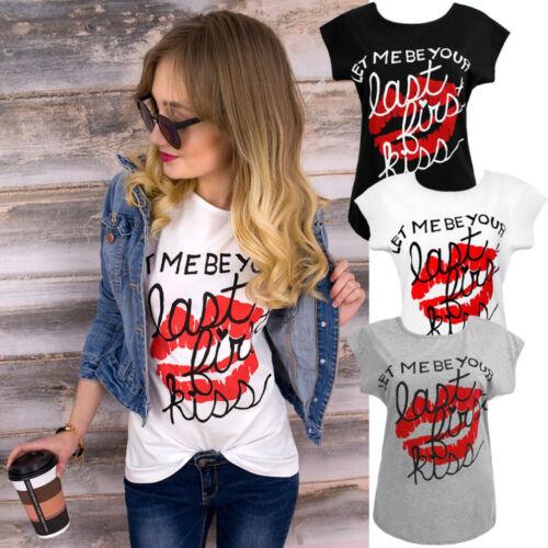 Damen kurzarm Shirt T-Shirt Bluse Text Print Blogger schwarz weiß blau  NEU #T01