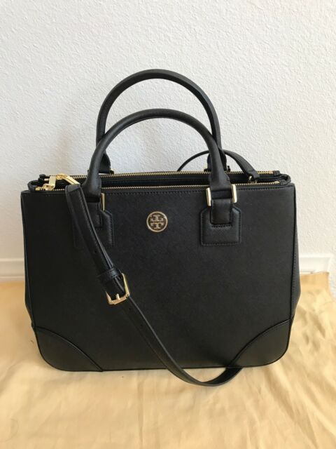 9f05bc0be92 Tory Burch Robinson Double Zip Saffiano Black Leather Shoulder Bag ...