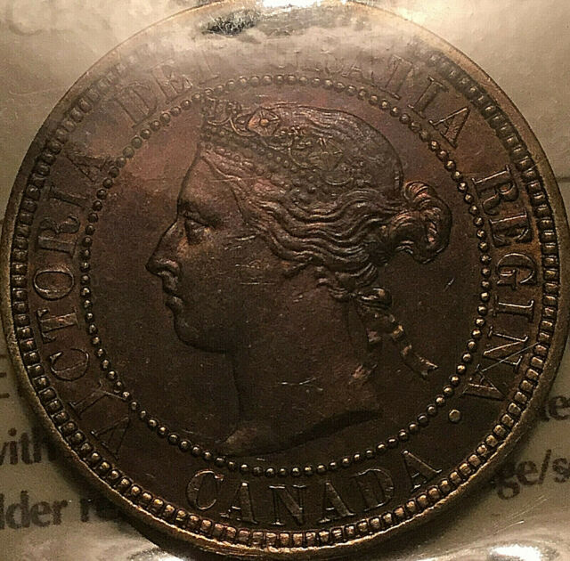 1882H CANADA LARGE CENT PENNY LARGE 1 CENT COIN - Obverse #1 ICCS MS-60 Cleaned