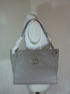34d842facff5 NWT Tory Burch French Gray Pebbled Leather Small Britten Slouchy ...