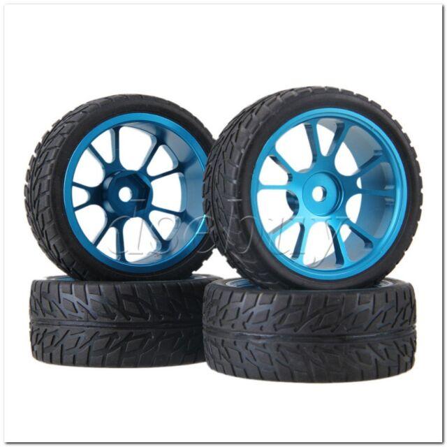 Rc1 10 On-road Car Rubber Tyre& Blue Aluminum Alloy 10-spoke Wheel Rim Pack  of 4