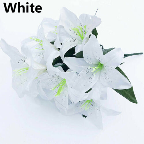 Quality Colorful Artificial Flowers Wedding Decor Lilies Bouquet Fake Lilies