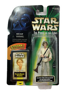 Star Wars Luke Skywalker W/ Blaster Rifle The Power Of The Force 1998 Kenner New