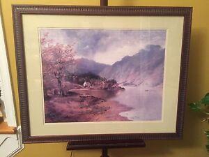Print-Mountain-Lake-amp-Cabin-Nicely-Framed-25-034-x30-034-X2-034-D-C12pics4details-MAKE-OFFER
