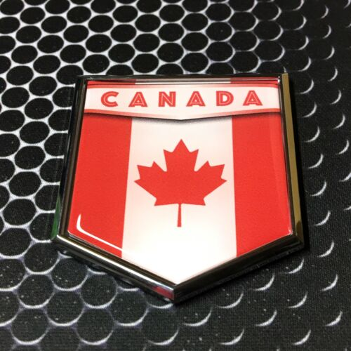 "Canada Flag Domed CHROME Emblem Flag Car 3D Sticker 2/""x 2.25/"" Decal"