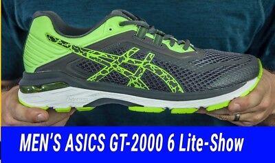 ASICS GT 2000 6 LITE SHOW VI Gris Jaune Hommes GEAR ROAD Chaussures De Course T834N 9595 | eBay