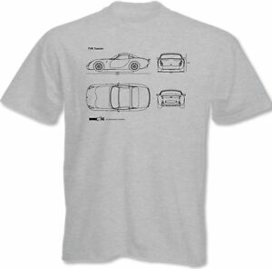 Blueprints Mens TVR Tuscan T-Shirt - Classic British Sports Car Blue Prints S R