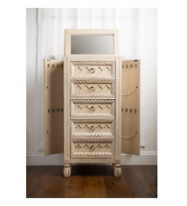 Vintage Jewelry Armoire White Chest Box Tall Storage Cabinet Stand