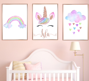 3f428a0adc45a Details about Personalised Unicorn Nursery Art Prints Set Of 3 Baby Girl  Rose Gold Room Decor