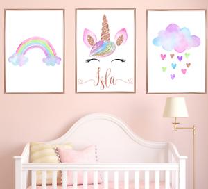 Personalised Unicorn Nursery Art Prints Set Of 3 Baby Girl Rose Gold Room Decor Ebay