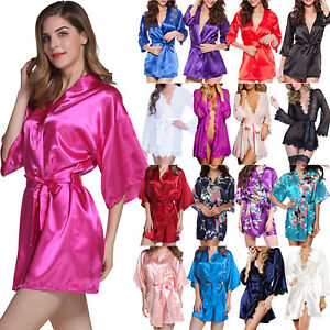 c10be6920 Womens Short Satin Kimono Robes Gown Bridal Wedding Bride Bridesmaid ...