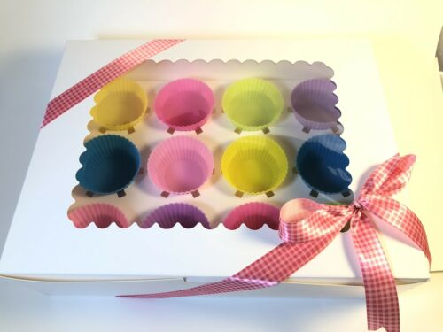 Simple White Cupcake//Muffin Boxes with Clear Window holds 12 INSERT pack of 12