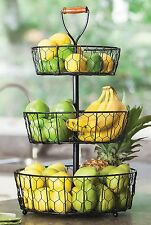 3 Tier Decorative Wire Fruit Basket Countertop Stand Organinzer