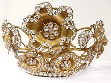 Couronne diadème vierge statue laiton doré strass fleurs crown XIXè siècle
