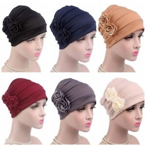 New Style Women Flower Beanie Headwear Muslim Cap Chemo Hat Head ... 0aa3182520d