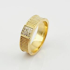 Herren-Damen-Ring-Zirkonia-weiss-Echt-750-Gold-18K-vergoldet-Gr-waehlbar-R1140