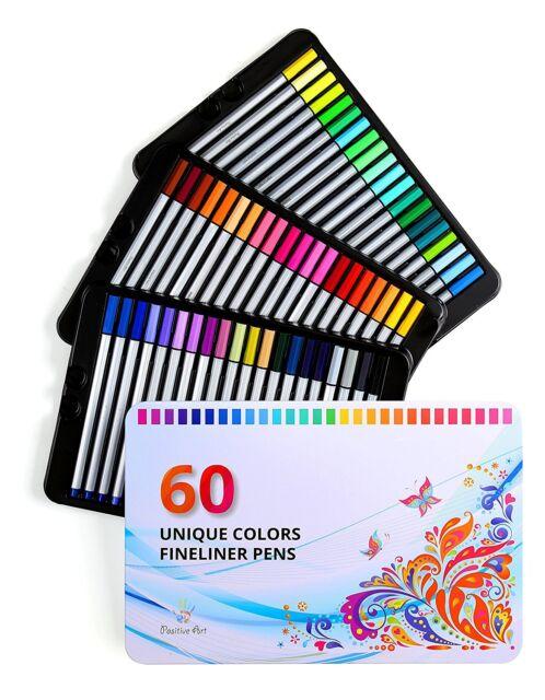 Positive Art Fineliner Coloring Pens Pen Set 60 Unique Colors Super ...