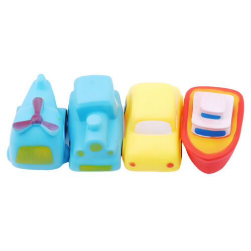 4pcs Soft Rubber Baby Bathing Car Airplane Boat Vehicle Sqeeze Sound Bath Toy