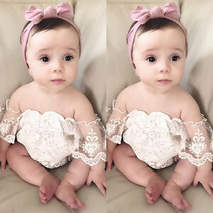 Kid Baby Girl Lace Off Shoulder Romper Bodysuit Jumpsuit Outfits Sunsuit USA wea