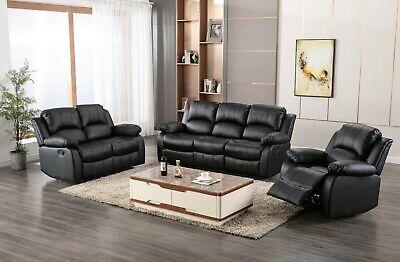 Athon Furniture 3+2 SEATER LEATHER RECLINER SOFA Brown Black Grey SET SUITE   eBay
