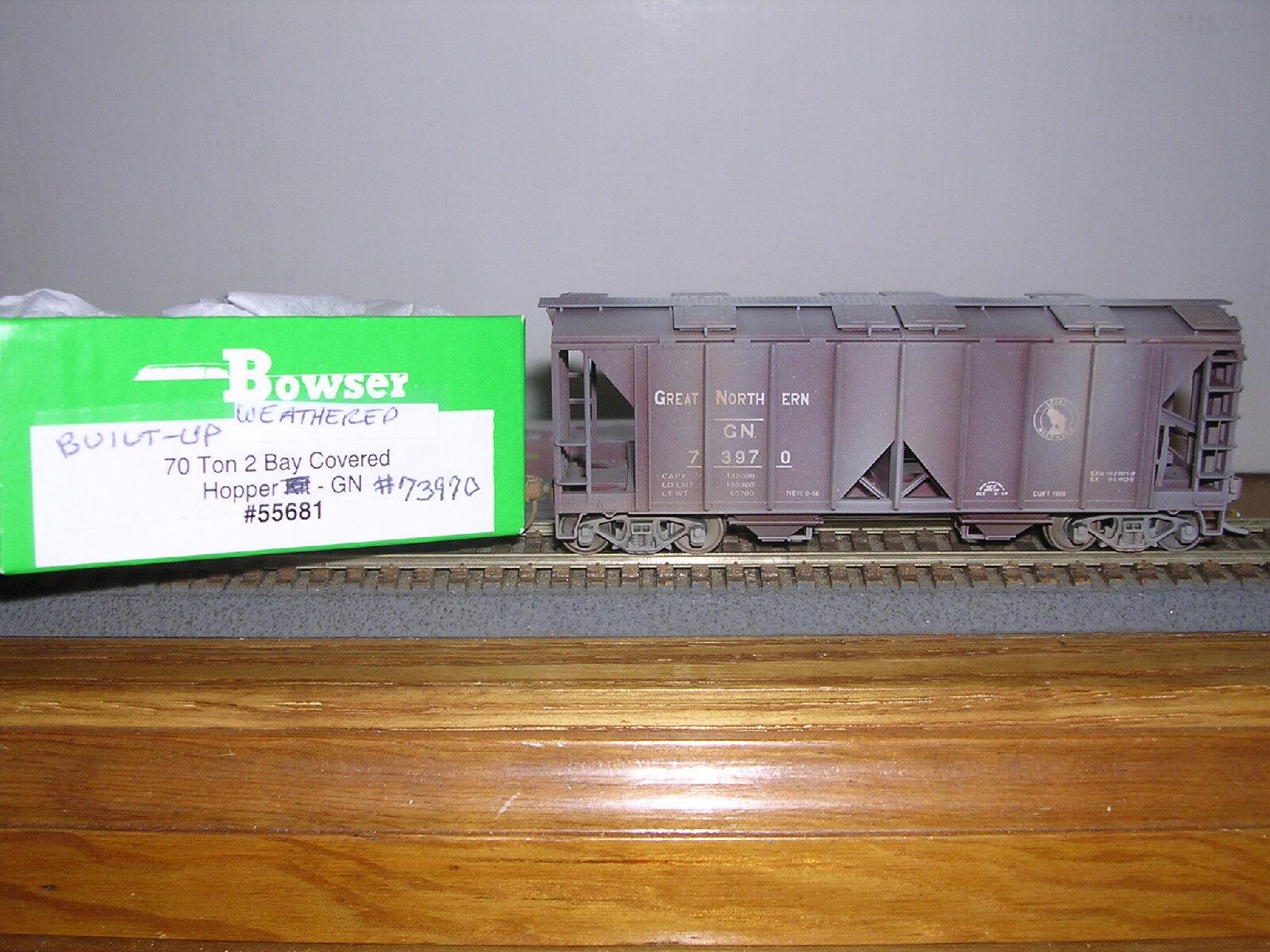 BOWSER Great Northern ACF 70 Ton 2-Bay Cov.Hopper Car Weath. 1 87