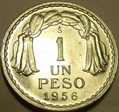 Gem Unc Chile 1956 1 Peso~General O/'higgens~Excellent~Free Shipping