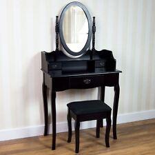 Nishano Dressing Table 3 Drawer Stool Black Mirror Bedroom Makeup Desk Dresser