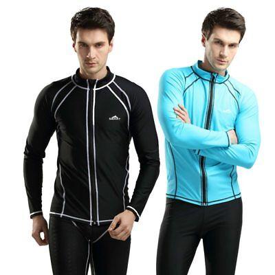 SBART Rash guard Men TopS Long Sleeve Surfing Jacket Zip UV Protection Wetsuit