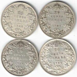 4 X CANADA TWENTY FIVE CENTS QUARTERS KING GEORGE V SILVER COINS 1933-1936