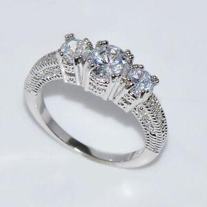 Elegante Grosse 6 10 Weisse Saphir Silber Hochzeit Band Ring Weissgold