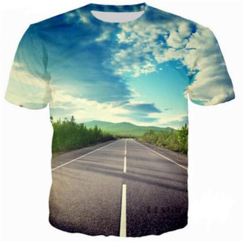 Womens//Mens Road Beautiful Scenery 3D Print Casual T-Shirt Tops Tee Short Sleeve