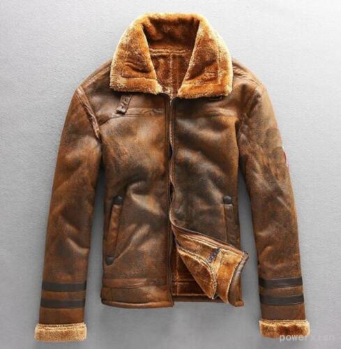 Mens warm hooded sheepskin leather jacket Lamb fur lining coat outwear Parka