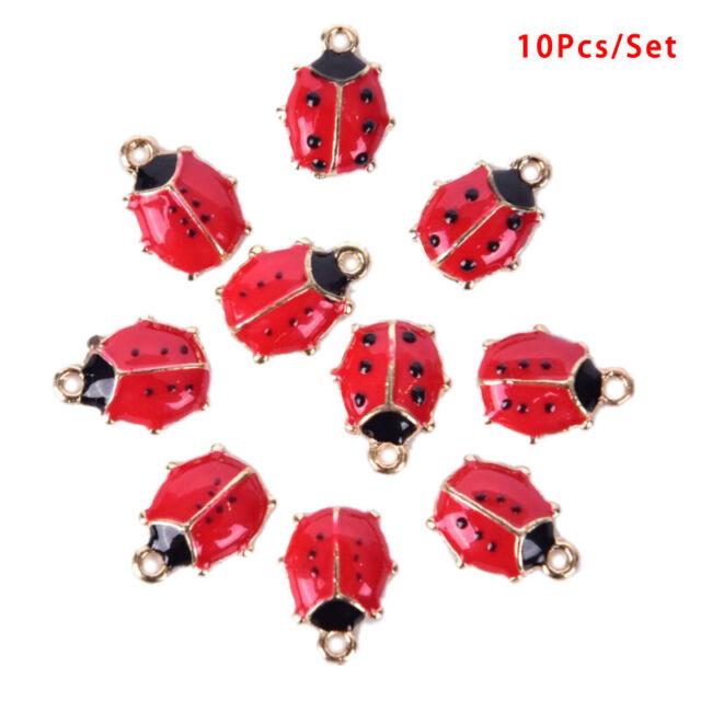 10x/Set Enamel Alloy Ladybug Charms Pendant Jewelry Findings DIY Making Cr.J
