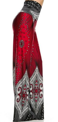 """HIGH WAISTED FOLD OVER RED /"""" IT/'S CHEMICAL/"""" PEACOCK PAISLEY PALAZZO PANTS S M L"""