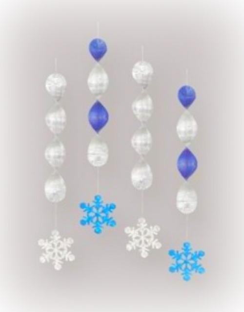 4 Hanging Snowflakes/Winter Wonderland Party Decorations/Xmas Decorations