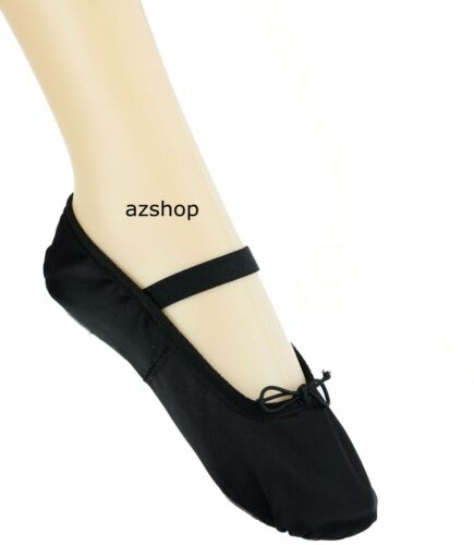 Full Sole Satin Shoes with elastic Black Ballet Satin Dance Shoes Silky Finish