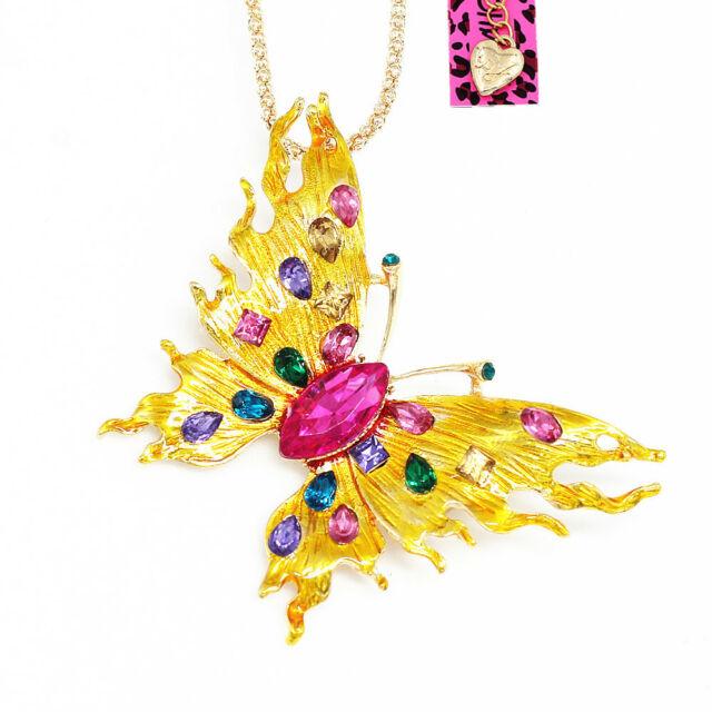 Pin By Crystal Johnson On Baldwin Hills Dam Break: Betsey Johnson Enamel Crystal Cute Butterfly Pendant Chain
