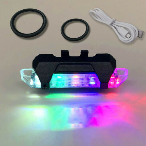 5 LED USB Rechargeable Bike Tail Light Bicycle Safety Cycling Warning Rear Lamp^