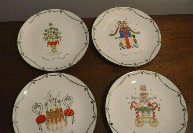 Lenox Merry And Bright Christmas Dessert Plates A Time For Set
