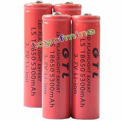 4x 3.7V 18650 GTL Li-ion 5300mAh Red Rechargeable Battery for LED Torch