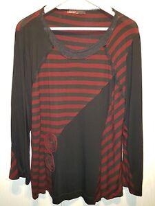 Details zu Damen Shirt Langarm Rot Schwarz gestreift Größe XL Kakie Paris