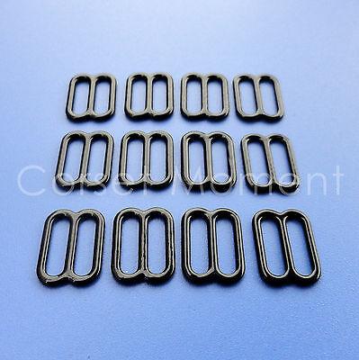 Black Metal Bra Slide Suspender Regulator/Adjuster Corset Garter Belt Supplies