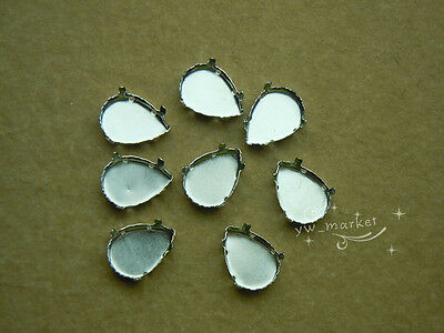 100 PCS 10mm x 14mm Faceted Glass Tear Drop Jewels's Settings For Sewing On
