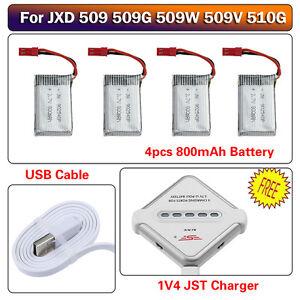4pcs 3.7V 800mAh Lipo Battery +4 Ports JST Charger for JXD 509 509W 509G 510G