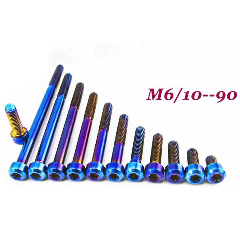 4pcs Titanium M6 10 15 20 25 30 40 50 60 70 80 90mm Screws Torx Bolts bluee