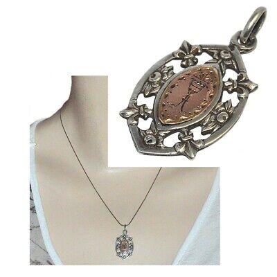 Adattabile Pendentif Ancien Médaille Communion Argent 925 Or 18 Carats Fleur De Lys Bijou Beneficiale Per Lo Sperma